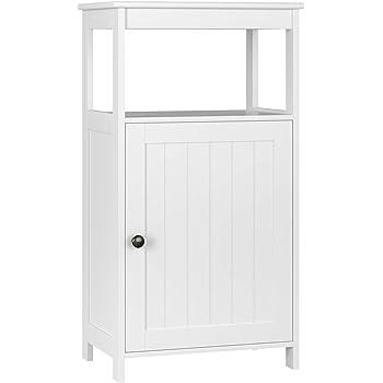 Amazon Com Homfa Bathroom Floor Cabinet Free Standing With Single Door Multifunctional Bathroom Storage Organizer Toiletries Ivory White Furniture Decor
