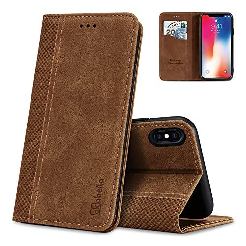 AKABEILA Funda para iPhone X, compatible con iPhone XS, funda tipo cartera con tapa para iPhone X / XS Funda de piel de silicona con ranuras para tarjetas, color marrón