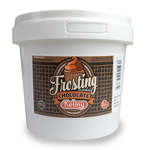 Kelmy Frosting Pulver Schokolade, 300g, Creme Glasur für Cupcakes und Kuchen, Buttercreme mit Chocolate-Geschmack als Tortendekoration, Zuckercreme