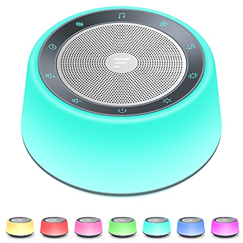 Letsfit White Noise Machine for Baby Adults, Sound Machine with 30 Soothing Sounds, Adjustable 7-Color Night Lights, Full Touch Metal Grille and Buttons, Timer and Memory Features for Bedroom Travel