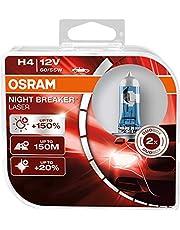 OSRAM NIGHT BREAKER LASER, H4, +150% meer helderheid , halogeen koplamp, Duo Box (2 lampen)