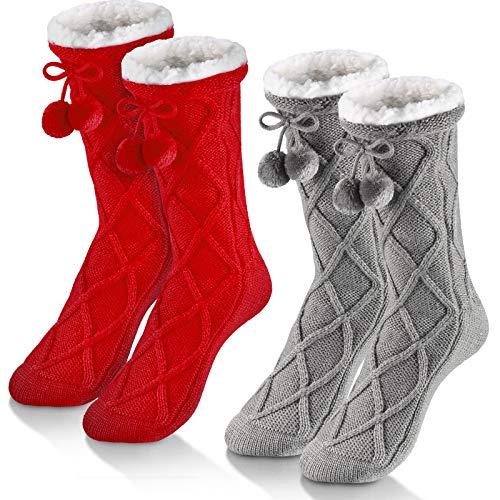 SATINIOR 2 Paia Calzini da Pantofola per Donna Inverno (Grigio Chiaro, Rosso)