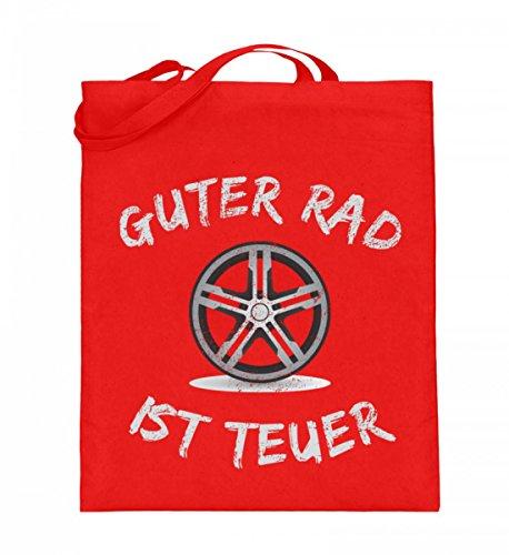 ALBASPIRIT Hochwertiger Jutebeutel (mit langen Henkeln) - Guter Rad Ist Teuer T-Shirt Auto Tuning Motorsport Chromfelge Auto Tuner Geschenk
