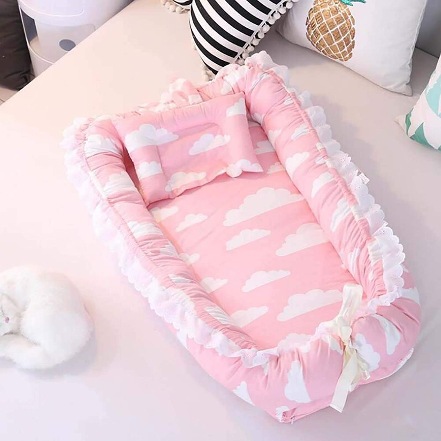 Baby Cot Removable and Washable Baby Isolation Bed Cotton Newborn Bionic Bed Removable and Washable Suitable for Baby from 0 to 24 Months,G