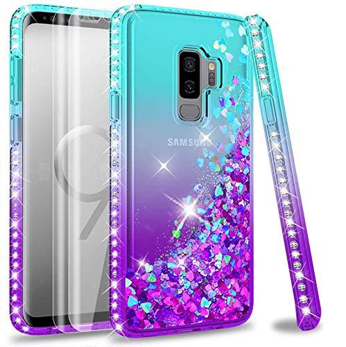 LeYi Compatible con Funda Samsung Galaxy S9 Plus S9+ Silicona Purpurina Carcasa con [2-Unidades] 3D Curvo Pet Pantalla, Transparente Cristal Bumper Telefono Fundas Case para S9 Plus,Verde/Morado