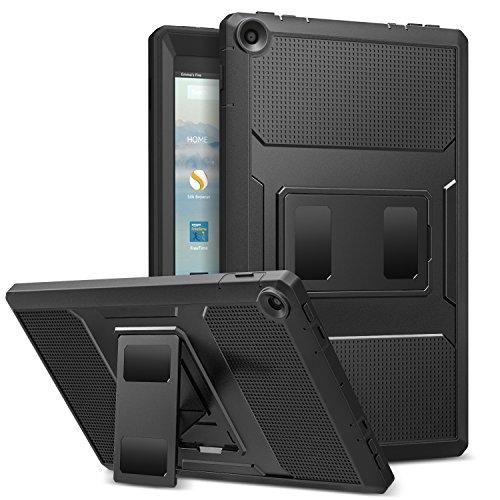 MoKo Hülle für Das Neue Amazon Fire HD 10 Tablet (9. Gen 2019 und 7. Gen 2017 Model), Stoßfest Dual Layer Hülle Schutzhülle Standfunktion Integriert Displayschütz für Fire HD 10,1