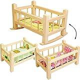 alles-meine.de GmbH 2 in 1: großes Puppenbett & Puppenwiege - Holz - UMBAUBAR - 43 cm lang - mit Bettzeug - Bett aus Naturholz - Holzwiege Schaukelbett - für Puppen groß Mädchen ..