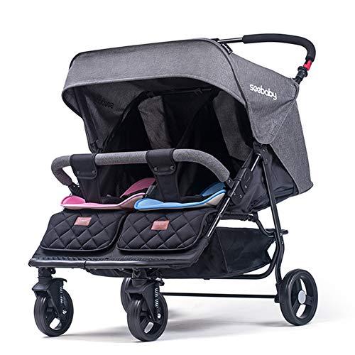 Hzl Zwillingskinderwagen, Zwillingsbuggy, Leichter Faltbarer Aufbewahrungskorb für Babys und Kinder,Gray