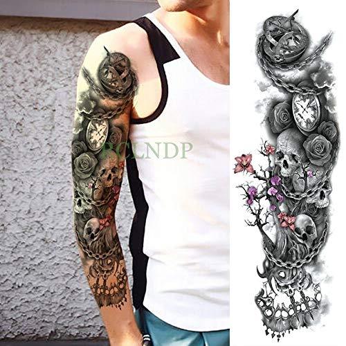 Handaxian 3 Piezas Etiqueta engomada del Tatuaje Rosa Grande Cuerpo Completo Cuerpo Arte Tatuaje Mangas Hombres y Mujeres Damas