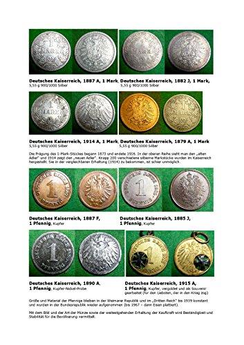 Kalenderblatt zum Jahr 1887: Münzen des Kaiserreichs werden vorgestellt (Ein Pfennig und eine Mark des Deutschen Reiches von 1887 sowie weiterer Jahre)