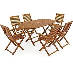 Deuba Sitzgruppe Boston 6+1 Sitzgarnitur 7-TLG Tisch Stühle klappbar Holz Gartenmöbel Garten Set Gartenset Gartentisch…