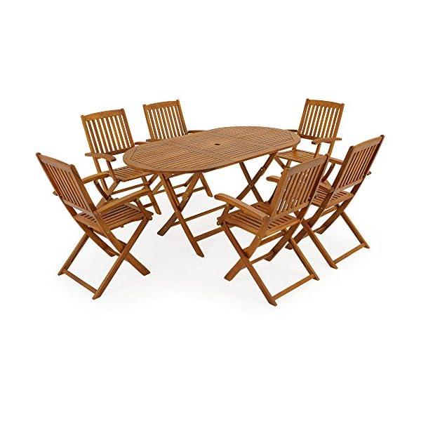 Deuba Sitzgruppe Boston 6+1 FSC®-zertifiziertes Akazienholz 7-TLG Tisch klappbar Sitzgarnitur Holz Gartenmöbel Garten…