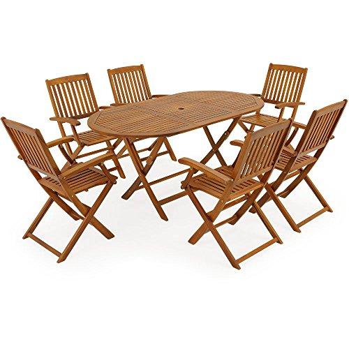 Deuba Conjunto de jardín 'Boston' de madera de Acacia set de 1 mesa y 6 sillas plegables con soporte para sombrilla