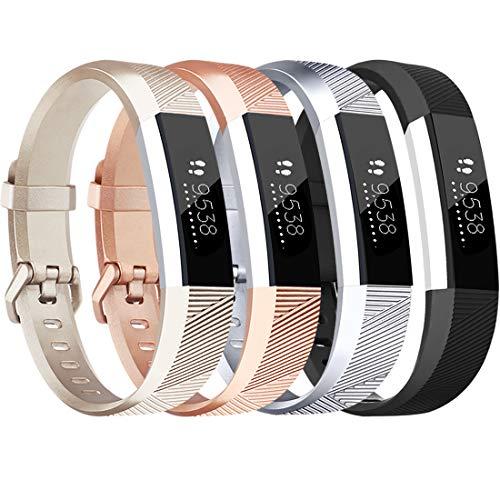 Tobfit für Fitbit Alta HR Armband, Verstellbare Ersatz Weich Sport Armband für Fitbit Alta HR und Fitbit Alta (4-Pack Roségold+Gold+Silber+Schwarz, S)