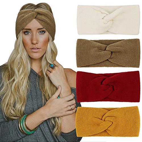 DRESHOW 4 Stück Stirnband Damen Winter Häkeln Stirnbänder Gestrickt Stirnband Kopfband Haarband Elastische Haarreife Ohr Wärmer