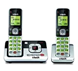 VTech CS6829-2 2-Handset Cordless Phone for Home with Answering System, Caller ID/Call Waiting, Backlit Keypad and Display, Full Duplex Handset Speakerphone, Expandable to 5 HS, (Silver/Black)