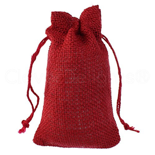 "50 Pack - CleverDelights 4"" x 6"" Red Burlap Bags with Natural Jute Drawstring - Small Burlap Pouch - Christmas Present Holiday Décor Rustic Party Favor Bags"