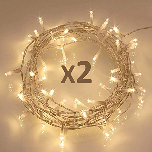 Koopower 50 LED Fairy String Lights, Battery Operated w/ Timer Function for Christmas Xmas, IP65 Waterproof - Warm White Pack of 2