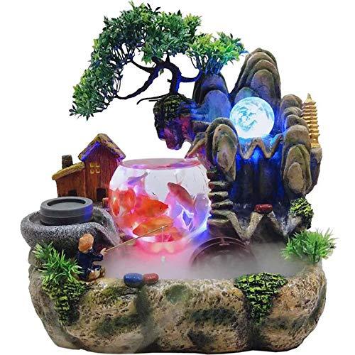 ZZKJXHJ Zimmerbrunnen Steingarten Aquarium, Wohnzimmer Desktop Bonsai Ornamente/Home Innendekoration Harz Handwerk
