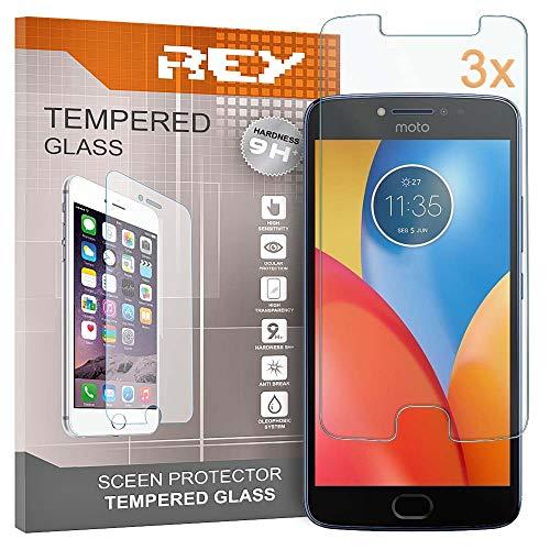 REY Pack 3X Panzerglas Schutzfolie für Motorola Moto E4 Plus, Bildschirmschutzfolie 9H+ Festigkeit, Anti-Kratzen, Anti-Öl, Anti-Bläschen