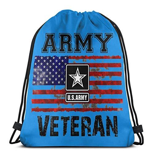 Us Army Veteran Unisex Drawstring Beam Port Bag,Fashion Gym Outdoor Sports Travel Backpack Storage Shoulders Bags 14.2 x 16.9 Inch/36 x 43cm