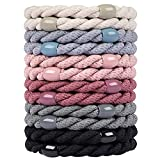 Cozeasy 12 Pcs Assorted Elastic Hair Ties, No-Metal Gentle Secure Hold Ponytail Holders, No Damage or Snagging Hair Bands, Perfect for Girls and Women with Thick and Curly Hair (Multicolor 10)