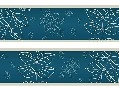 wandmotiv24 Bordüre Blätter Herbarium 260cm Breite - Vlies Borte Tapetenbordüre Bordüren Borde Wandborde Natur türkis Farn M0063