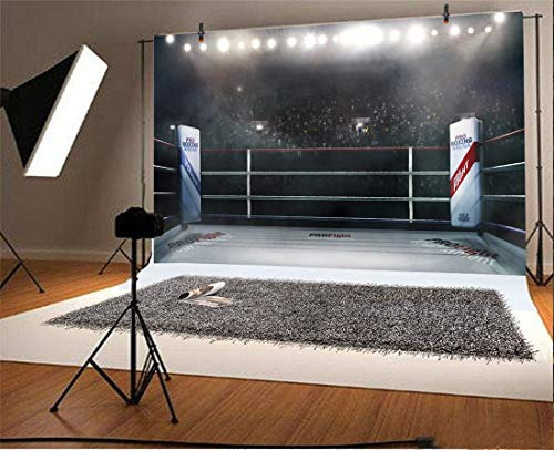 Yeele Boxing Stage Backdrops 6x4ft Professional Boxing Arena in Lights Photography Background Boys Men Artistic Portrait Sports Game Birthday Events Photo Booth Photoshoot Studio Prop
