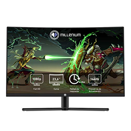 "Millenium MD24PRO - Monitor Gaming para e- Sport de 23,6"" FHD 144hz Curvo con 4ms (1920 x 1080p, VA, 16:9, 2 x HDMI, Display Port, Sin Marco, Color Negro)"