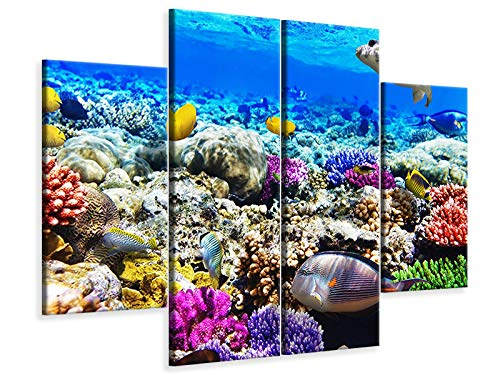 Canvasfoto 4-delig Fish Aquarium, 160x120cm (2x40x120cm, 2x40x80cm)