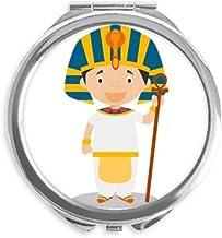 DIYthinker Sombrero amarillo Egipto de dibujos animados espejo redondo portable de la mano del bolsillo del maquillaje