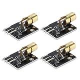 Akozon Module émetteur Laser 4pcs 5mW 650nm Module de Diode pour Projets de Capteurs Laser Arduino Raspberry DIY