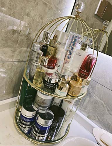 Cosmetics Storage Rack Antique Mirrored Bird Cage Jewelry Holder Dessert Cupcake Stand Necklace Earring Organizer Display Large Vanity Tray Two-Tiered Perfume Tray, for Women Girl Valentine Souvenir