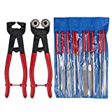 Glass Ceramic Tile Wheel Cutter Plier Tool, Glass Tile Nipper Mosaic, Tile Nipper Carbide Cutting, DIY Tile Mosaic Cutter with 10pcs 7inch Diamond Coated Handle Grinding Tool Kit