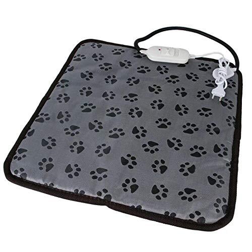 Decdeal Haustier Heizmatte Heizkissen für Hund Katze Wärmematte Temperatur Einstellbar Sicher Wasserdicht Heizdecke Größe: 45x45cm Fußabdruck