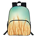 Oobon Kids Toddler School Waterproof 3D Cartoon Backpack, Wheat Field and Blue Sky Agriculture Themed Abstract Composition, Fits 14 Inch Laptop