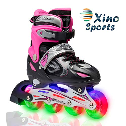 Xino Sports Adjustable Kids Inline Skates for Girls & Boys with Light Up Wheels (Ages 5-20)