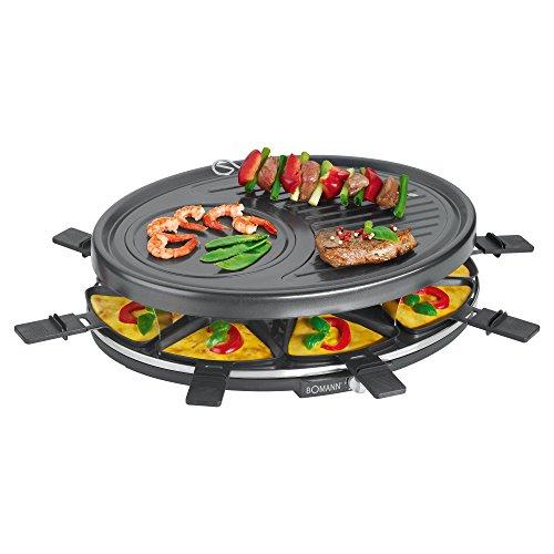 Bomann RG 2247 CB Raclette-Grill zum Grillen und Überbacken, 8 Pfännchen und 8 Holzspatel, Antihaftbeschichtung, Stufenlos regelbarer Thermostat, max. 1400 Watt