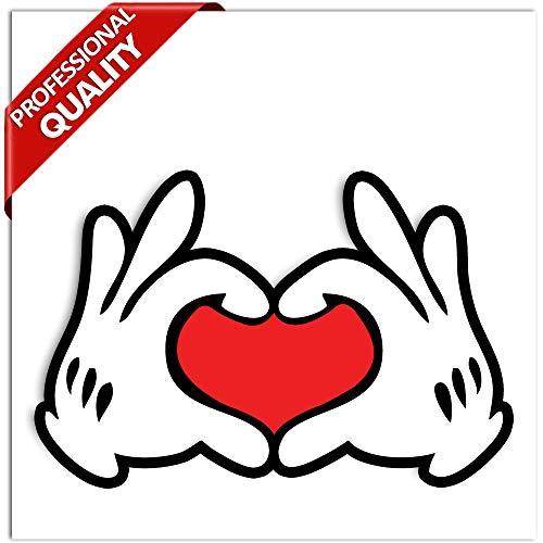 Biomar Labs® 1 x Vinyl Aufkleber Sticker Mickey Mouse Micky Maus Hands Heart Herz Hände Bumper Autoaufkleber Auto Motorrad Fenster Tür Laptop Fahrrad Tuning B 250
