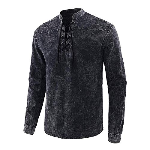 Vertvie Herren Mittelalter Hemd Steampunk Schnürhemd Renaissance Gothic Blusen Cosplay Viktorianisch Uniform Wikinger Pirat Hemd Oberteil Tops