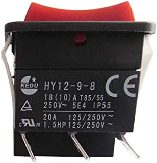 KEDU HY12-9-8 3 Pins (ON)-OFF-(ON) Industrial Push Button Switches Electric Tool Pushbutton Rocker Switch With Bilateral Self Reset 125/250V 20A 1.5HP Made In China CE UL 2-Pack (HY12-9-8)