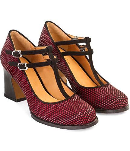 Zapatos Tacón Medio Mary Jane Candy | Zapato Salón Mujer Pieles Ante...