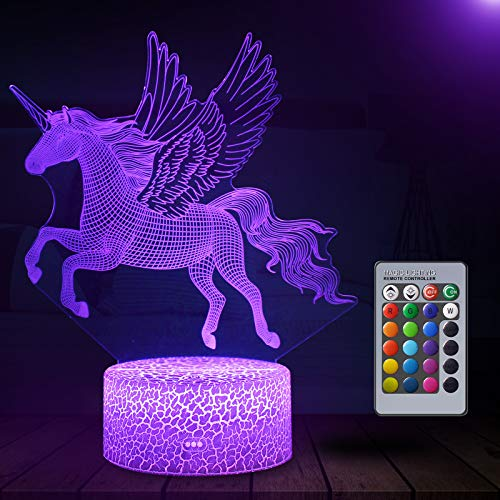 Unicorn 3D Illusion Lamp, 3D Night Light for Kids with 16 Colors Changing, Unicorn Gift for Girls
