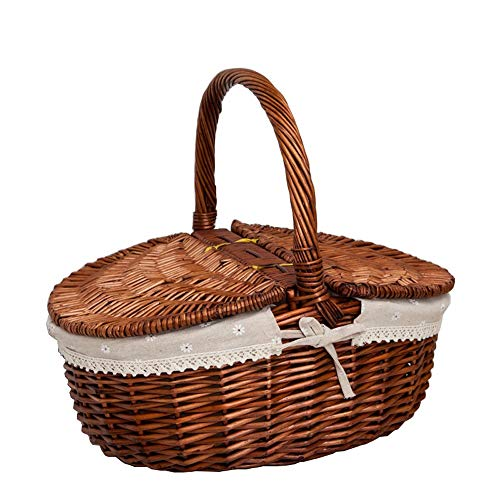 Byx- Picknick Mand - Rattan Tuin Opslag Mand Rieten Cover Met Gevoerde Fruit Gift Mand Bamboe Handgemaakte Opbergmand (40x30x16cm) -picknickmanden