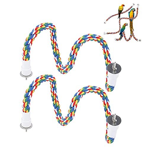 Gfdg 2 Piezas Cuerda para Masticar Pájaros, Perca Cuerdas de Algodón, Cuerda de Periquito de Loro, para Pájaros, Periquitos, Cacatúas, Cotorras, Pinzones, Periquitos Pequeños (60 cm)
