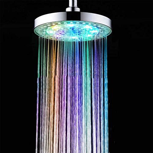 M-zmds Grand pommeau de douche à LED, environ 20 cm, rond, 7 couleurs, coloré, changement de couleur, arc-en-ciel, convient à la maison et aux hôtels, Lueur de nombreuses couleurs et non de couleurs s