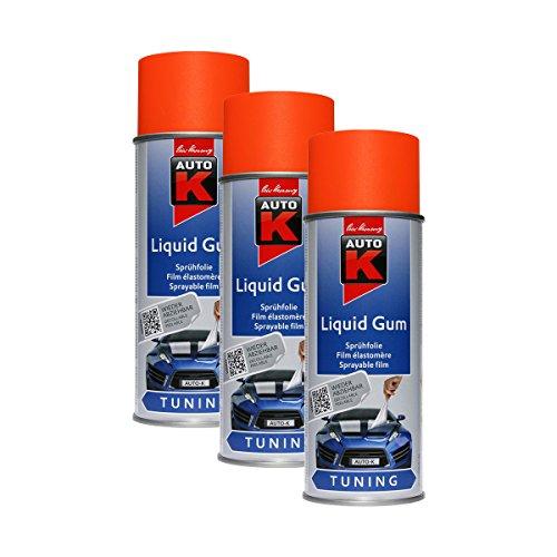 3X KWASNY 233 255 Auto-K Tuning Liquid Gum Neon-Orange Lackspray 400ml