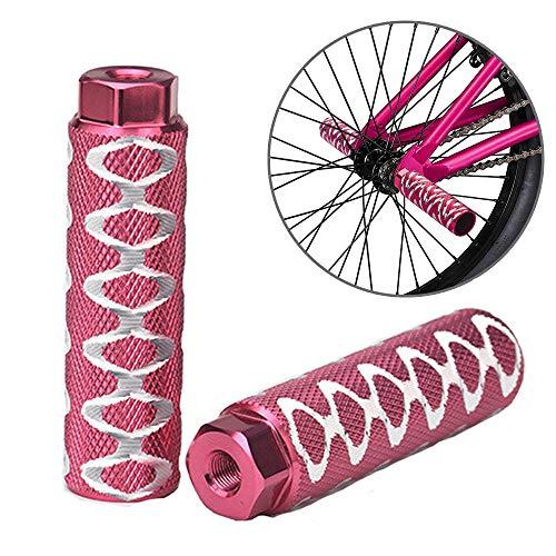 ZONSUSE Clavijas para Pedales BMX Antideslizantes de aleación de Aluminio, Pedal de Bicicleta Apto para Ejes Delanteros o Traseros, Clavijas de Bicicleta, para Bicicleta Bici BMX (Rosado)