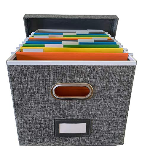 File Box Organizer and 10 File folders (Letter Size) - Decorative Linen Hanging File Box with Lid - Letter/Legal Office File Storage Box