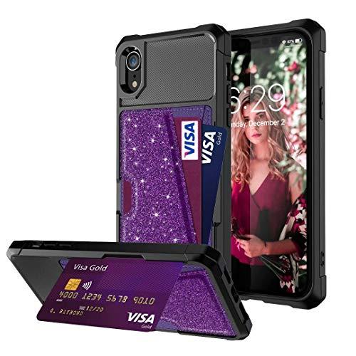 Glitzer Hülle für Samsung Galaxy S9, HandyHülle Leder Case für Samsung Galaxy S9 Schutzhülle Tasche Cover Flipcase Etui Brieftasche mit Ständer und Magnetverschluss lila